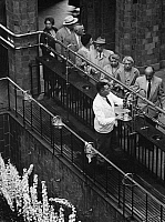 0239687 © Granger - Historical Picture ArchiveGEOGRAPHY.   Germany, Bavaria Lower Franconia, Bad Kissingen: patients getting spring water in the pump room (foyer), date unknown, probably 1956, photo by Hans Retzlaff.