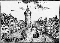 0239690 © Granger - Historical Picture ArchiveGEOGRAPHY.   Germany, Bavaria, Franconia, Nuremberg: Procession of clothiers 1768. Etching by J.P. Henkel, 18tth century.