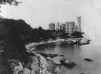 0240514 © Granger - Historical Picture ArchiveGEOGRAPHY.   Trieste Miramar Castle Miramar Castle, built from 1854-1856 for Archduke Maximilian of Austria, the later Emperor of Mexico - c. 1900.