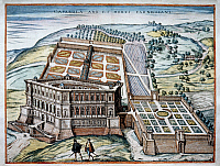 0240669 © Granger - Historical Picture ArchiveGEOGRAPHY.   Italy Lithographs / engravings from the 16th century Palazzo Farnese in Caprarola, surrounded by gardens - colored copperplate engraving by Hogenberg - 1590.