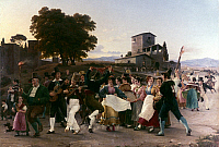 0241153 © Granger - Historical Picture ArchiveCELEBRATION.   Paintings People dancing at a folk festival in Italy - painting by Wilhelm Marstrand - 1839.