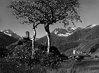 0241307 © Granger - Historical Picture ArchiveNATURE.   Switzerland, Grisons, Engadin, Alps: ruin of a castle near Schuls-Tarasp in the Lower Engadine, date unknown, around 1930, photo by J. Feuerstein.