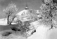 0241423 © Granger - Historical Picture ArchiveNATURE.   Switzerland - Graubuenden - Davos Winter landscape. Frauenkirche in deep fresh snow. - 1952 Vintage property of ullstein bild.