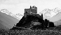 0241743 © Granger - Historical Picture ArchiveNATURE.   Switzerland, Grisons, Engadin, Alps: view of Tarasp Castle near Schuls-Tarasp in the Lower Engadine, date unknown, around 1930, photo by J. Feuerstein.