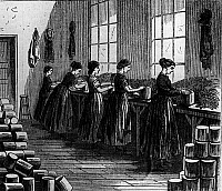 0241856 © Granger - Historical Picture ArchiveINDUSTRY.   Cans / Can-prduction: Beginning of.... Women filling cans in a factory. Contemp wood engraving 1869.