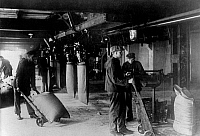 0241879 © Granger - Historical Picture ArchiveINDUSTRY.   I.G. Farbenindustrie A.G (IG Farben) - chemical plant. Fertilizer production , Nitrogen-plant Ludwigshafen - Oppau (Haber-Bosch-Process). Sacking device for fertilioter salts. 1930.