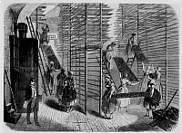 0242106 © Granger - Historical Picture ArchiveINDUSTRY.   Tobacco industry until 1900 Tobacco factory Hainburh , Lower Austria: Drying of the cigar filling. contemp. woodengraving, about 1855.