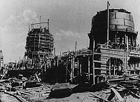 0242156 © Granger - Historical Picture ArchiveINDUSTRY.   Soviet Union Economic development 1st Five-Year-Plan: construction of a furnace of the iron works Magnitostroy in Magnitogorsk / Ural Mountains - around 1930.