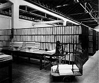 0242190 © Granger - Historical Picture ArchiveINDUSTRY.   I.G. Farbenindustrie A.G (IG Farben) - chemical plant. Fabrication of artificial silk (plant Leverkusen ?) The cellulose sheets are stored by the artificial silk works on airy shelves. 1931.