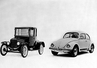 0242370 © Granger - Historical Picture ArchiveECONOMY.   Germany: Ford model T (1908) and VW Beetle Silver Bug 1981 - 01.01.1981 No-commercial-use!.