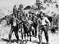 0242468 © Granger - Historical Picture ArchiveECONOMY.   Gold rush California 1848-1854:Gold diggers with their equipment on their way to find new deposits within the Sacramento drainage.. wood engraving, 19th cent..