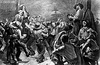 0242578 © Granger - Historical Picture ArchiveECONOMY.   Gold rush California 1848-1854: Gold diggers on frolic celebration in a saloon. about 1850 illustr. of A. Castaigne 1891 Tanz.