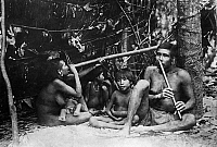 0243131 © Granger - Historical Picture ArchiveLEISURE.   Brazil, indians playing on a bamboo flute, date unknown.