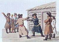 0243195 © Granger - Historical Picture ArchiveLEISURE.   Russia Lithographs / engravings from the 19th century Russian coachmen at a fist fight - colored copperplate engraving by Geissler - Early 19th century.