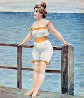 0243793 © Granger - Historical Picture ArchiveLEISURE.   Swimwear Drawings A woman in a swimsuit standing on a footbridge - around 1910.
