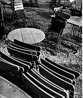 0243838 © Granger - Historical Picture ArchiveLEISURE.   Folding chairs and tables in a garden restaurant. Picture by Heinz Fremke, 1937.