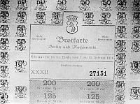 0243936 © Granger - Historical Picture ArchiveCELEBRATION.   German Empire Kingdom Prussia Brandenburg Province Berlin: ration coupon for bread and flour - 1916 - Photographer: Haeckel Vintage property of ullstein bild.