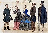 0244716 © Granger - Historical Picture ArchiveFASHION.   Biedermeier era Fashion Women and men dressed in casual wear the women are wearing gowns and bonnets (Capote hat), the men frock coats. Left: the coachman of noble people - 1849.