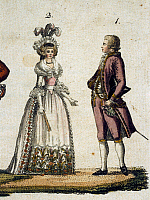 0244821 © Granger - Historical Picture ArchiveFASHION.   Rococo Lithographs / engravings from the 18th century Ladies' and gents' fashion in the Rococo period: noblewoman wearing a crinoline dress and corselet, and nobleman wearing culotte (knickerbockers) and a frock coat - contemporary colored copperplate engraving - around 1780.