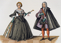0244861 © Granger - Historical Picture ArchiveFASHION.   Rococo Fashion Rococo-style fashion: noblewoman wearing a loose crinoline, and a nobleman wearing Culotte (knickerbockers), a frock coat, loose gown, tricorn and wig - Early 18th century.