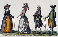 0245100 © Granger - Historical Picture ArchiveFASHION.   Rococo Fashion Rococo-style fashion: ladies dressed in a manteau (coat dress), and gentlemen wearing Culotte (knickerbockers) and a frock coat - around 1790.