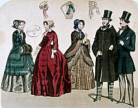 0245117 © Granger - Historical Picture ArchiveFASHION.   Biedermeier era Fashion Women dressed in casual wear with gowns, bonnets (Capote hat) and muff, and men wearing frock coats and top hats - 1849.