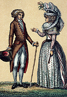 0245146 © Granger - Historical Picture ArchiveFASHION.   Rococo Fashion Rococo-style fashion of a noble couple: the lady's wearing a manteau (coat dress), the gent a Culotte (knickerbockers) and a frock coat - around 1790.