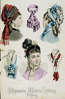 0245299 © Granger - Historical Picture ArchiveFASHION.   Germany Ladies' fashion Different models of hats and collars for the lady from the 'General Fashion Newspaper', Leipzig - around 1875.