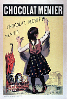 0245494 © Granger - Historical Picture ArchiveLIFESTYLE.   France Old advertising posters Advertising poster by Firmin Bouisset for the chocolate manufacturer Menier a little girl is writing on a wall: Chocolat Menier - 1892 Artist-copyright-is-not-included!.
