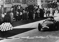 0260564 © Granger - Historical Picture ArchiveSTIRLING MOSS (1929- ).   British racing driver. Competing in the Pescara Grand Prix in Italy. Photograph, 1957.