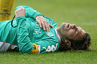 0261256 © Granger - Historical Picture ArchiveTORSTEN FRINGS .   Torsten Frings - Soccer, Midfielder, SV Werder Bremen, Germany - lying on the pitch - 29.03.2008 *** Local Caption *** 00971876. contrast/Pollack - ullstein bild / Granger, NYC -- All rights reserved.