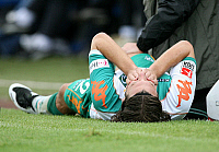 0261523 © Granger - Historical Picture ArchiveTORSTEN FRINGS .   Torsten Frings - midfielder, SV Werder Bremen, Germany: lying on the pitch after suffering ligament damage in his right knee - 24.07.2007 *** Local Caption *** 00921764. Pressefoto Ulmer - ullstein bild / Granger, NYC -- All Rights Reserved.