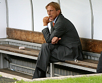 0261953 © Granger - Historical Picture ArchiveCHRISTOPH DAUM.   Daum, Christoph - Soccer, Coach, 1. FC Koeln, Germany - sitting alone on the substitutes' bench - 12.07.2008 *** Local Caption *** 00991739. Team 2 - ullstein bild / Granger, NYC -- All rights reserved.