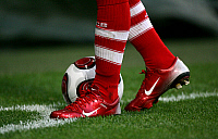 0262018 © Granger - Historical Picture ArchiveFRANCK RIBERY .   Franck Ribery - Midfielder, FC Bayern Munich, France - red pair of Nike Soccer boots and socks by Adidas - 07.10.2007 *** Local Caption *** 00939184. Team 2 - ullstein bild / Granger, NYC -- All rights reserved.