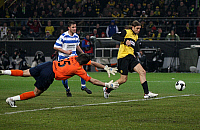 0262064 © Granger - Historical Picture ArchiveGERMANY .   Germany - North Rhine-Westphalia - Dortmund: DFB Cup, season 2007-2008, semi-final, Borussia Dortmund v Carl Zeiss Jena 3:0 - Fernando Klimowicz (R) scoring third goal past goalkeeper Vasili Khamutouski - 18.03.2008 *** Local Caption *** 00974197. Team 2 - ullstein bild / Granger, NYC -- All Rights Reserved.