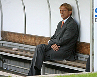 0262223 © Granger - Historical Picture ArchiveCHRISTOPH DAUM.   Daum, Christoph - Soccer, Coach, 1. FC Koeln, Germany - sitting alone on the substitutes' bench - 12.07.2008 *** Local Caption *** 00991738. Team 2 - ullstein bild / Granger, NYC -- All rights reserved.