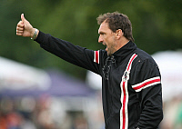 0262515 © Granger - Historical Picture ArchiveCLAUS WOLLITZ.   Wollitz, Claus-Dieter - Soccer, Coach, FC Energie Cottbus, Germany - giving thumbs up - 10.07.2009. Behrendt / contrast - ullstein bild / Granger, NYC -- All right