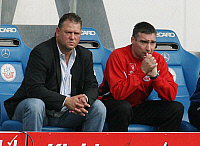 0262641 © Granger - Historical Picture ArchiveFRANK PAGELSDORF .   Frank Pagelsdorf - Coach, FC Hansa Rostock, Germany - sitting on the substitute bench with assistant coach Timo Lange (R) - 22.09.2007 *** Local Caption *** 00948240. contrast/Behrend - ullstein bild / Granger, NYC -- All Rights Reserved.