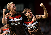0263105 © Granger - Historical Picture ArchiveMARIUS EBBERS.   Ebbers, Marius - Soccer, Striker, FC St. Pauli, Germany - celebrating with team-mate Florian Bruns (R) after scoring his side's first goal with a penalty in the match against MSV Duisburg (result 2:2) - 22.08.2009 No-commercial-use! Not-available-for-Axel-Springer! . Public Address - ullstein bild / Granger, NYC -- All rights reserved.