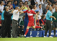 0263197 © Granger - Historical Picture ArchiveSWITZERLAND .   Switzerland - Basel: UEFA EURO 2008 - Semi-Final, Germany v Turkey 3:2 - Ugur Boral of Turkey celebrating after scoring opening goal, in the background Turkish national team coach Fatih Terim (white shirt) - 25.06.2008 *** Local Caption *** 00993675. Sven Simon - ullstein bild / Granger, NYC -- All Rights Reserved.