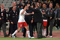 0263440 © Granger - Historical Picture ArchiveSOCCER.   Soccer, friendly match in Istanbul: Turkey vs. Germany 2:1 - scene of the match: scorer Nuri SAHIN (TUR) rejoices with Turkish national team manager Fatih TERIM after having scored 2:0 - 08.10.2005 *** Local Caption *** 00985549. Sven Simon - ullstein bild / Granger, NYC -- All rights rese