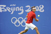 0263471 © Granger - Historical Picture ArchiveCHINA .   China - Peking Beijing: Olympic Games 2008 - Tennis Men - Roger Federer (SUI) in action - 11.08.2008 *** Local Caption *** 01007199. Sven Simon - ullstein bild / Granger, NYC -- All Rights Reserved.