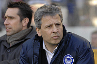 0263651 © Granger - Historical Picture ArchiveLUCIEN FAVRE .   Lucien Favre - Soccer, Coach, Hertha BSC Berlin, Switzerland - in the background Michal Preetz (L), manager signing player division - 09.02.2008 *** Local Caption *** 00964904. Sven Simon - ullstein bild / Granger, NYC -- All Rights Reserved.