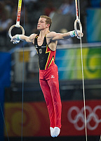 0263699 © Granger - Historical Picture ArchiveCHINA .   China - Peking Beijing: Olympic Games 2008 - Men's Gymnastics Artistic , Individual All-Around final - Fabian Hambuechen (GER) in action during his routine on the rings - 14.08.2008 *** Local Caption *** 01009158. Sven Simon - ullstein bild / Granger, NYC -- All rights reserved.