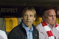 0263768 © Granger - Historical Picture ArchiveJUERGEN KLINSMANN.   Klinsmann, Juergen - Soccer, Coach, FC Bayern Munich, Germany - next to Deputy Chairman Uli Hoeness (R) during Quarter-final Second leg of UEFA Champions League match against FC Barcelona (result: 1:1) - 14.04.2009 . Sven Simon - ullstein bild / Granger, NYC -- All rights reserv