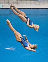 0263909 © Granger - Historical Picture ArchiveCHINA .   China - Peking Beijing: Olympic Games 2008 - Diving - Women's Synchronized 3m Springboard final - Ditte Kotzian (back) and Heike Fischer of Germany in action - 10.08.2008 *** Local Caption *** 01009692. Sven Simon - ullstein bild / Granger, NYC -- All rights reserved.