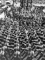 0266015 © Granger - Historical Picture ArchiveNUREMBERG RALLY, 1936.   A parade of the National Socialist Motor Corps at the Nuremberg rally grounds. Photograph, 1936.