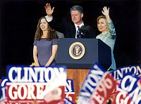 0266397 © Granger - Historical Picture ArchiveBILL CLINTON (1946- ).   42nd President of the United States. Campaigning in Chicago with First Lady Hillary Clinton and daughter Chelsea. Photograph, 1996. Full credit: Fotoagentur imo - ullstein bild / Granger, NYC -- All rights reserved.