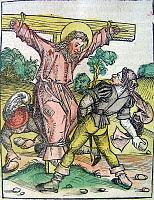 0266995 © Granger - Historical Picture ArchiveMARTYRDOM OF PHILIP.   The crucifixion of Philip the Apostle, c80 A.D. Woodcut by Michael Wolgemut from the 'Nuremberg Chronicle,' 1493.