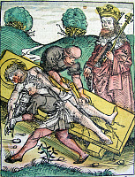 0266997 © Granger - Historical Picture ArchiveMARTYRDOM: BARTHOLOMEW.   The flaying and crucifixion of Bartholomew the Apostle, 1st century A.D. Woodcut by Michael Wolgemut from the 'Nuremberg Chronicle,' 1493.